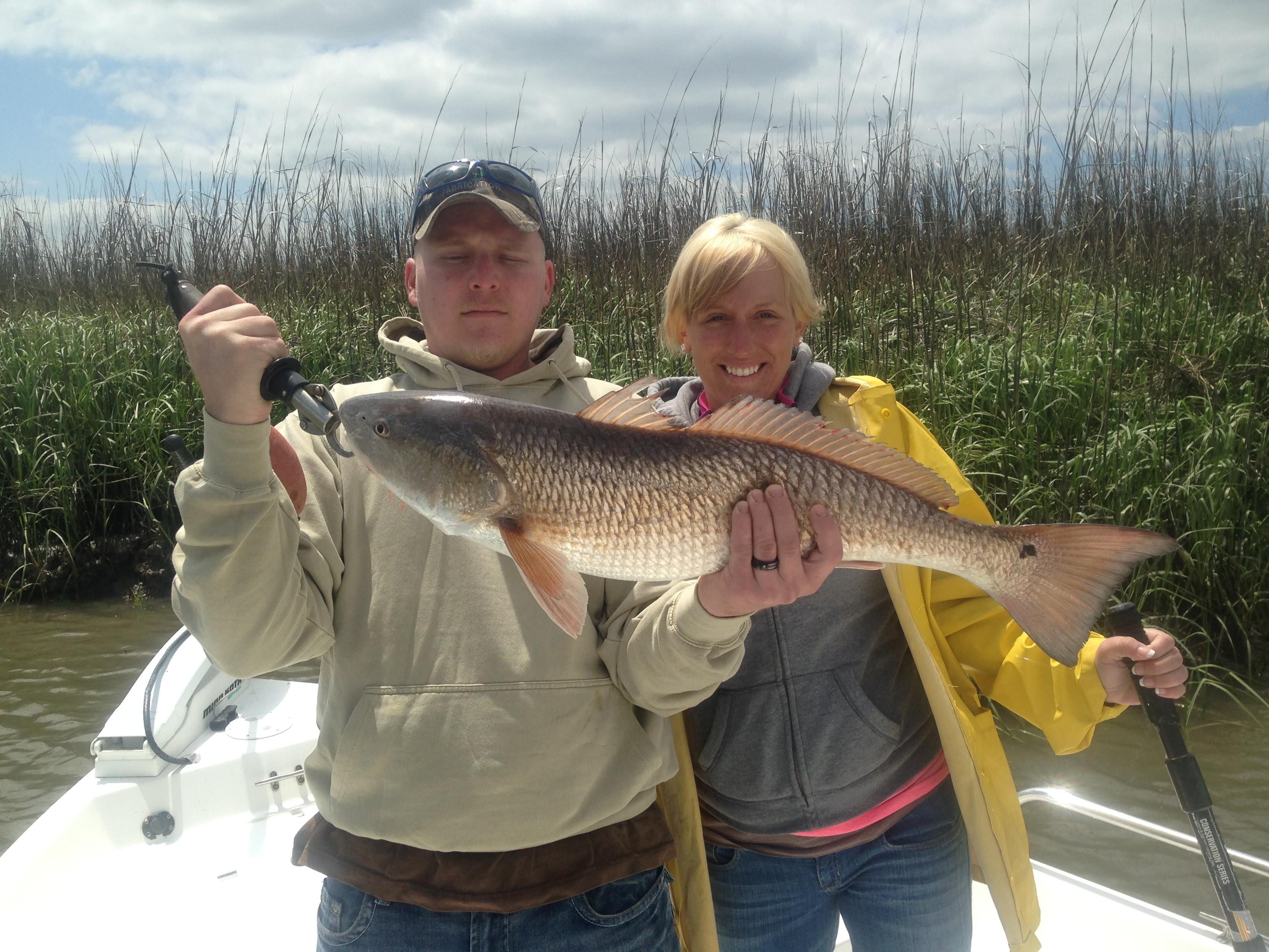 Josh & Kristin Ledford with a large redfish!