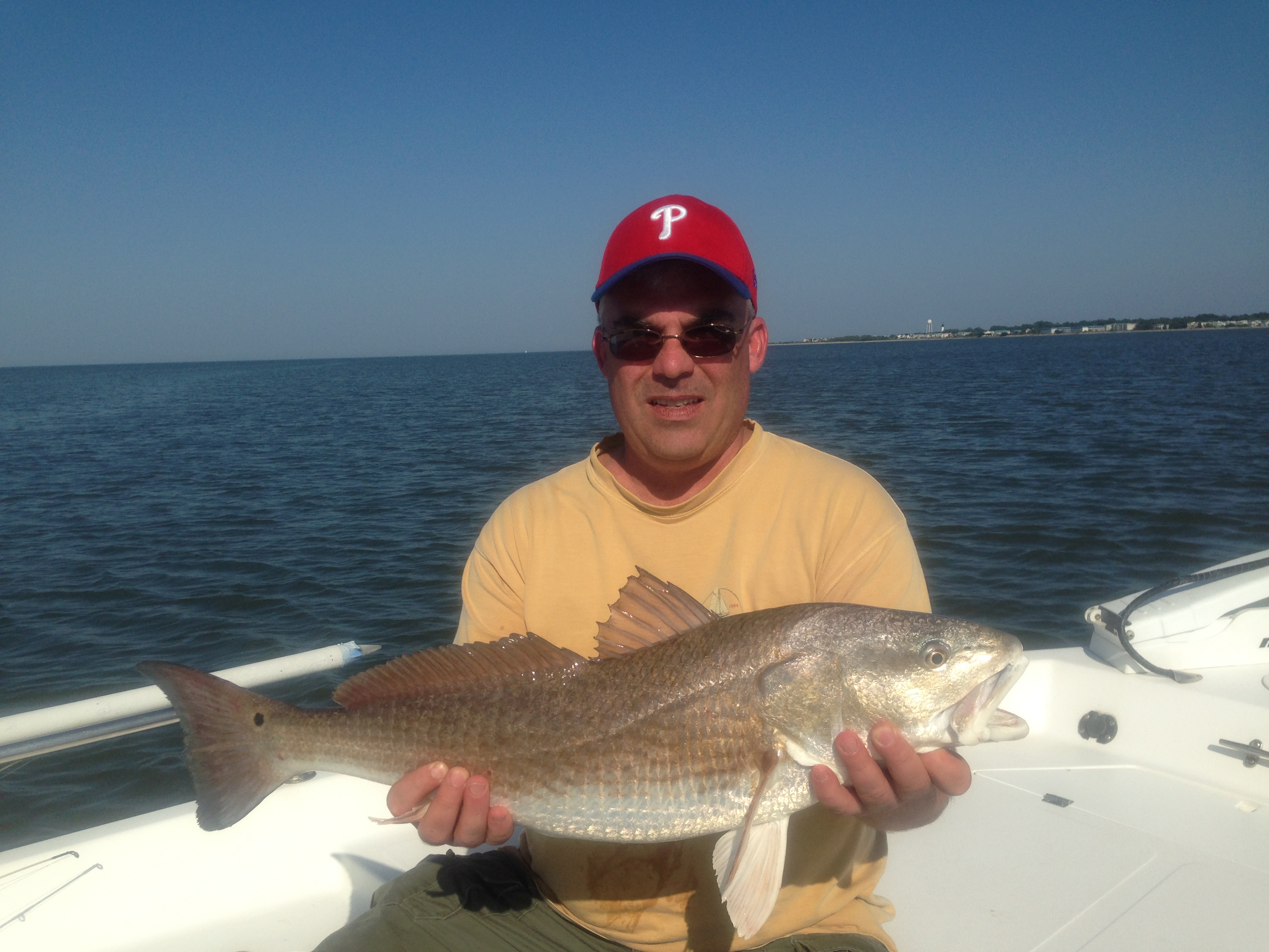 Phil Kriger with a large red drum