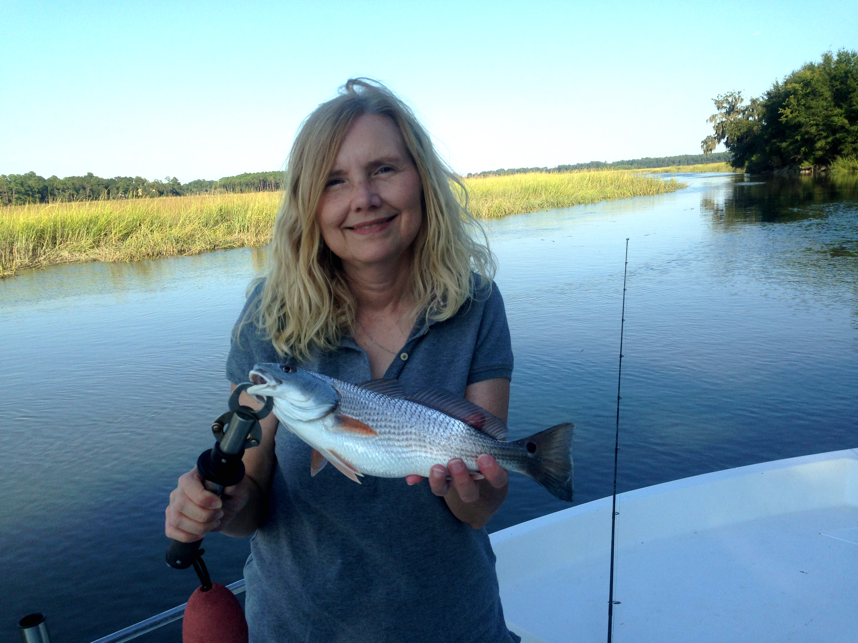 Cathy with a schoolie redfish