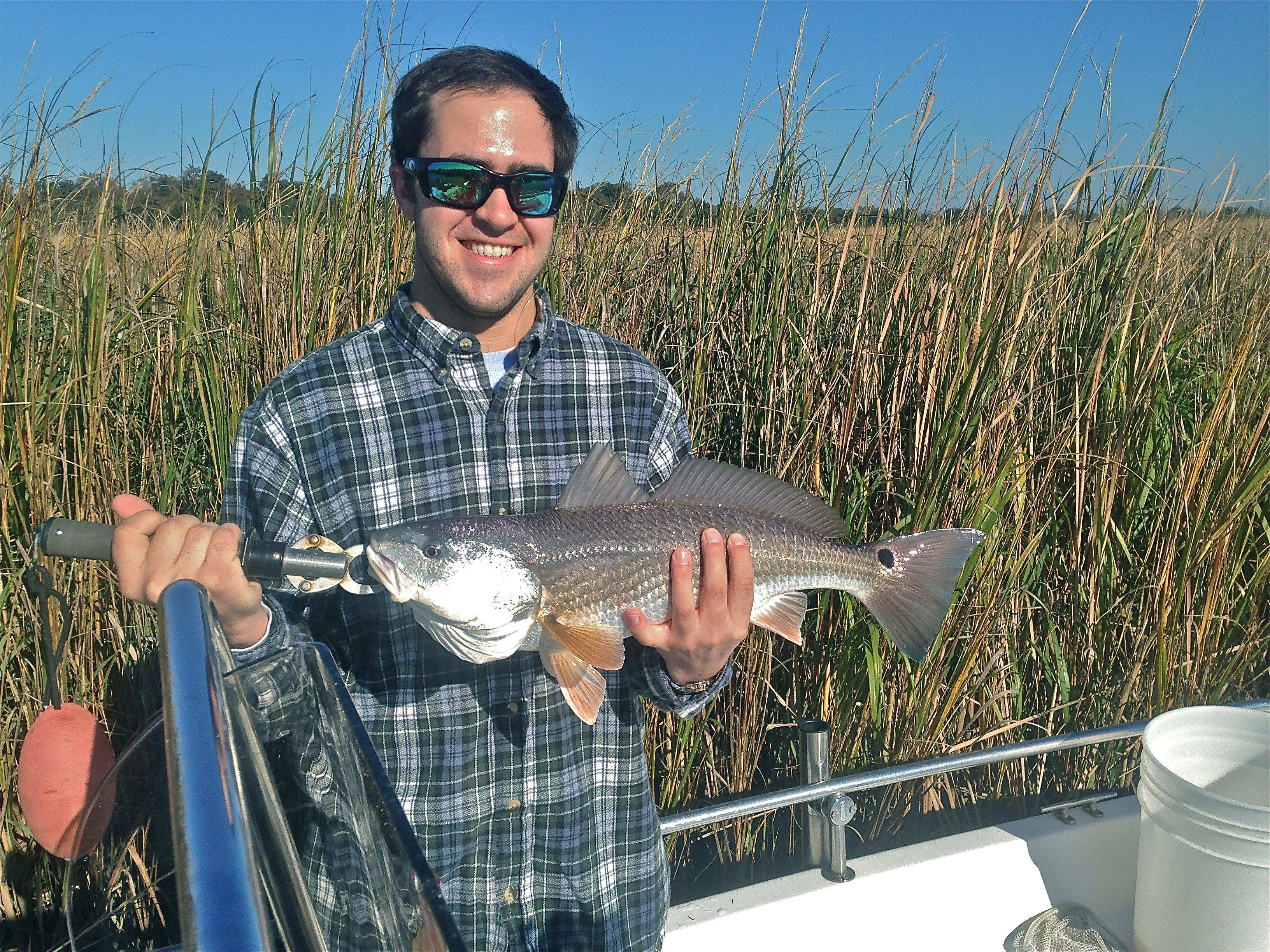 Matt Hopkins with a nice red! Matt caught this fish pitching a 1/4 oz. jig.