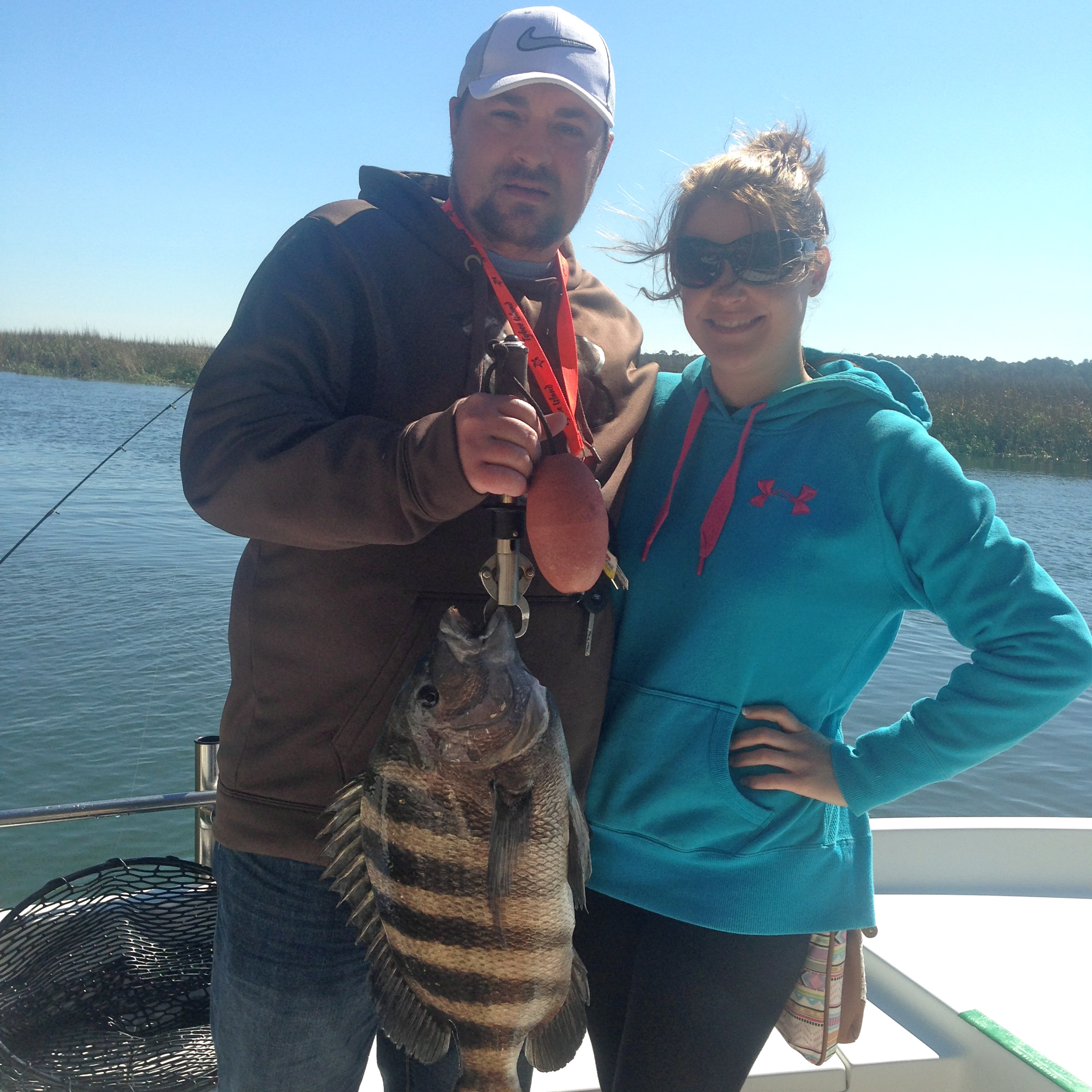Neville and Stacy Wilburn with a nice sheepshead!