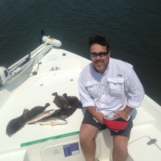 Mark Green and Westly Stone with nice catch of early Spring flounder and nice reds!