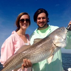 Shaffer & PJ Roberts with a large red drum! The guys caught seatrout, whiting and sharks before this large red drum.