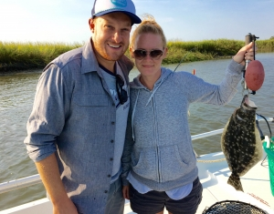Zach & Kate with her first flounder! 16 1/2 inch. Nice fish!