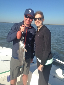 Tim and Ellen Johnson catching reds!