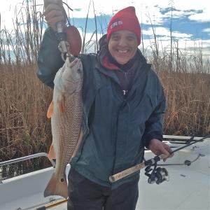 "Lynn Partridge with a nice 25"" redfish"