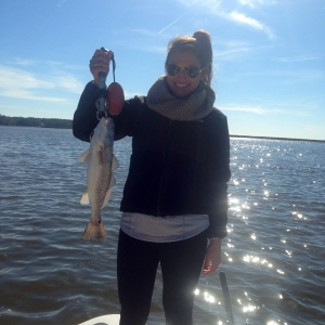 Jessica Blanar with nice redfish caught on a mud minnow under a pencil float.