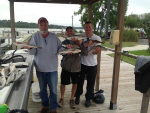 Larry Spears, Tony Tuttle and Glenn Honerline with a nice catch of seatrout and redfish! The guys released a bunch.