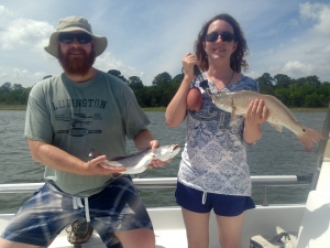 Jay Coats & Ellen with a nice seatrout and redfish. The guys had nice catch of reds and seatrout! Some large bonnet head sharks are prowl as well.