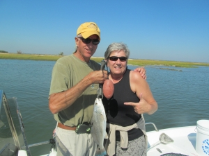 Mike and Tina Edwards catching some schoolie reds on a beautiful day on the coast!