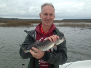 Peter Mankowski & his son Peter catching some seatrout and reds on the edge of a cold front.