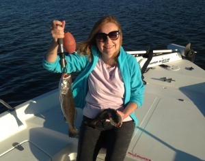 Cathy with a couple nice seatrout caught 1/4 oz. jig and live shrimp.