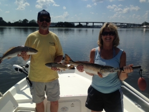 Chuck & Lisa O'Kelly catching redfish & black drum. Strong bite on a nice day!