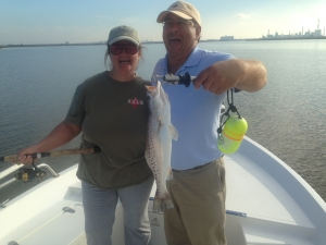 Angela and Mark with a nice seatrout!