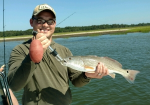 Dillon Till & father in law catching some nice sea trout. Dillon is holding a nice schoolie red.