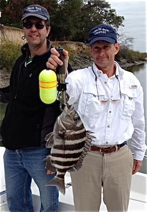 Thomas Fassuliotis and Tim Corley catching sheepshead