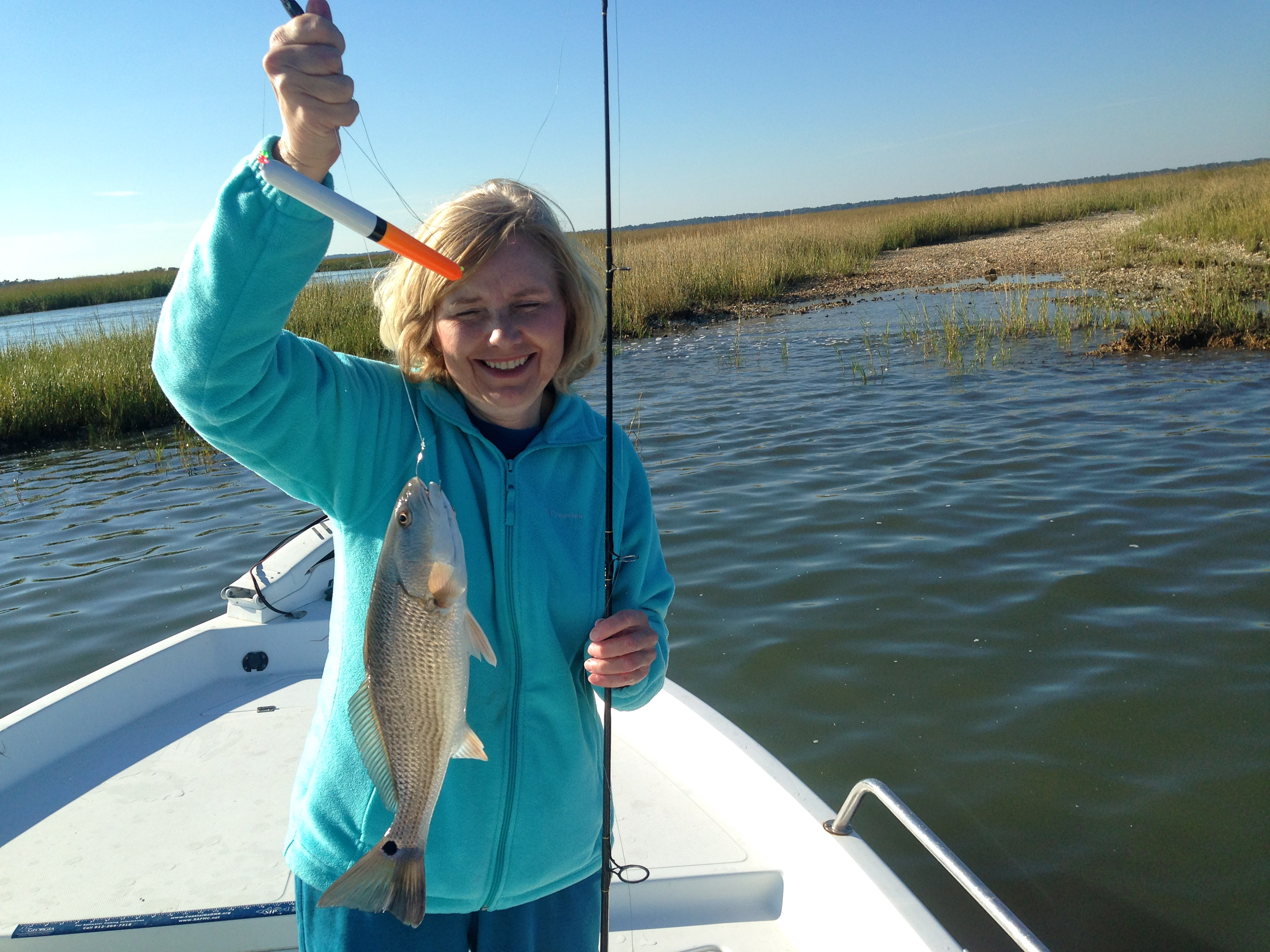 Cathy with a schoolie red