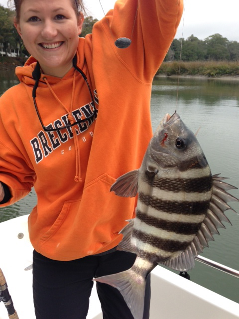 New angler Arlene Roberts showing the excitement of catching a nice sheepshead!