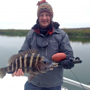 Brian & Anna Huneycutt with Nice Sheepshead catch on a cold winter day! Here's Brian with a chunky 6 pounder!