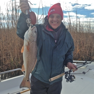 "Lynn Partridge with a nice 25"" redfish"