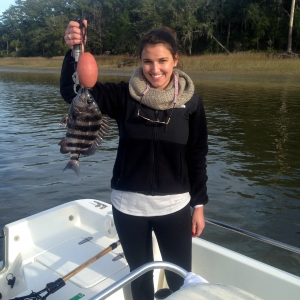 Jessica Blanar and David catching inshore sheepshead