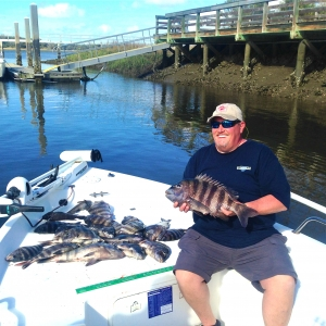 Jeff King & Marge with nice catch! Here's Jeff with holding a nice sheepshead.