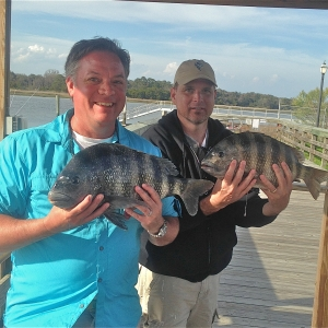 Scott and Corey and Ron Walters on a good sheepshead bite!