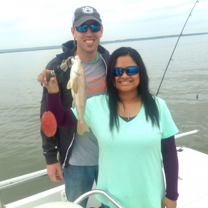 Ty Youngblood and Bria fishing for whiting. Bria with a nice whiting!