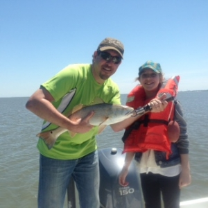 Dave Rubin and daughter Phoebe with a large redfish. The last fish of the day!
